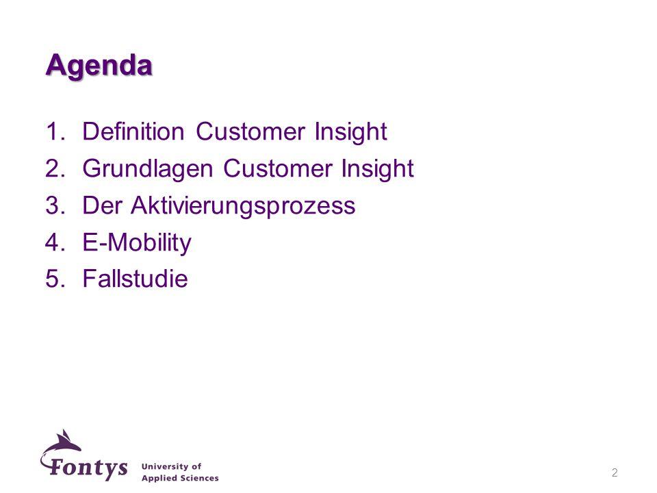 Agenda Definition Customer Insight Grundlagen Customer Insight