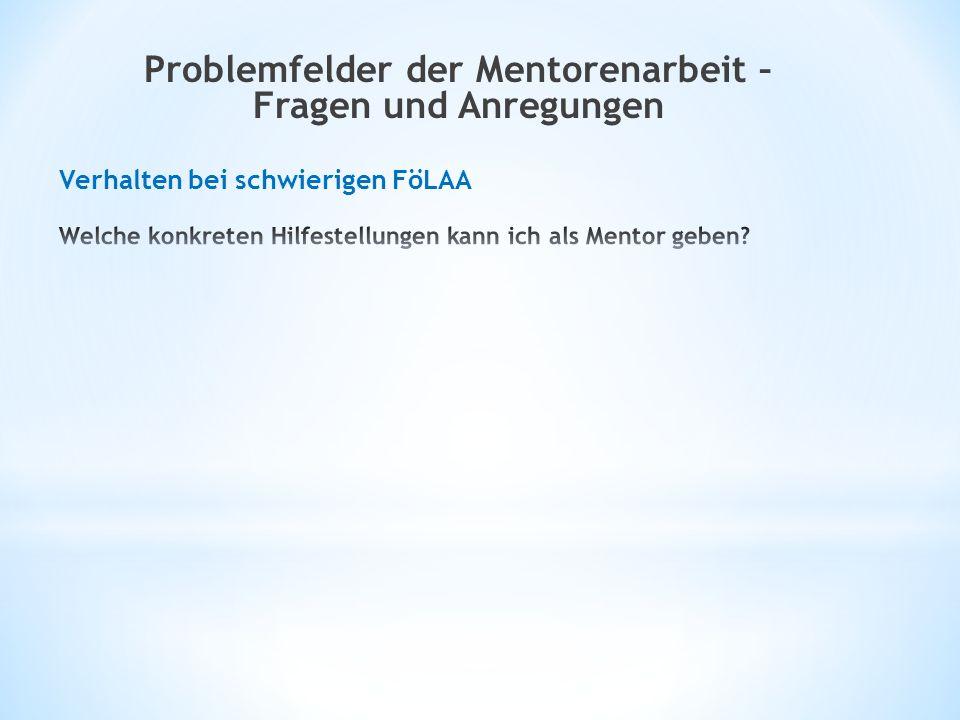 Problemfelder der Mentorenarbeit – Fragen und Anregungen