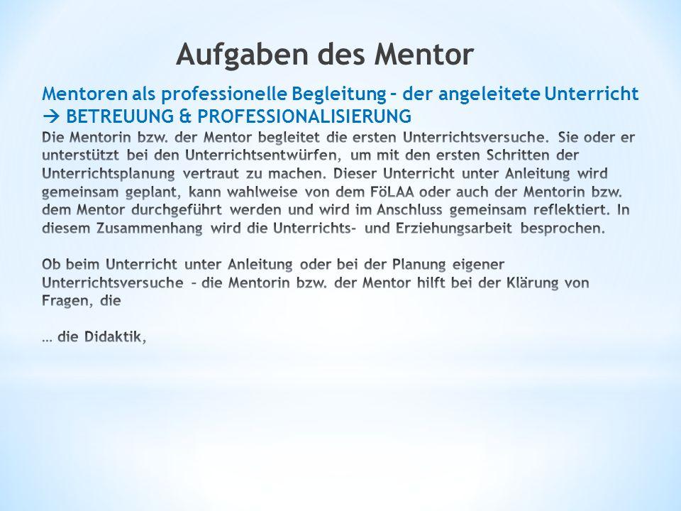 Aufgaben des Mentor