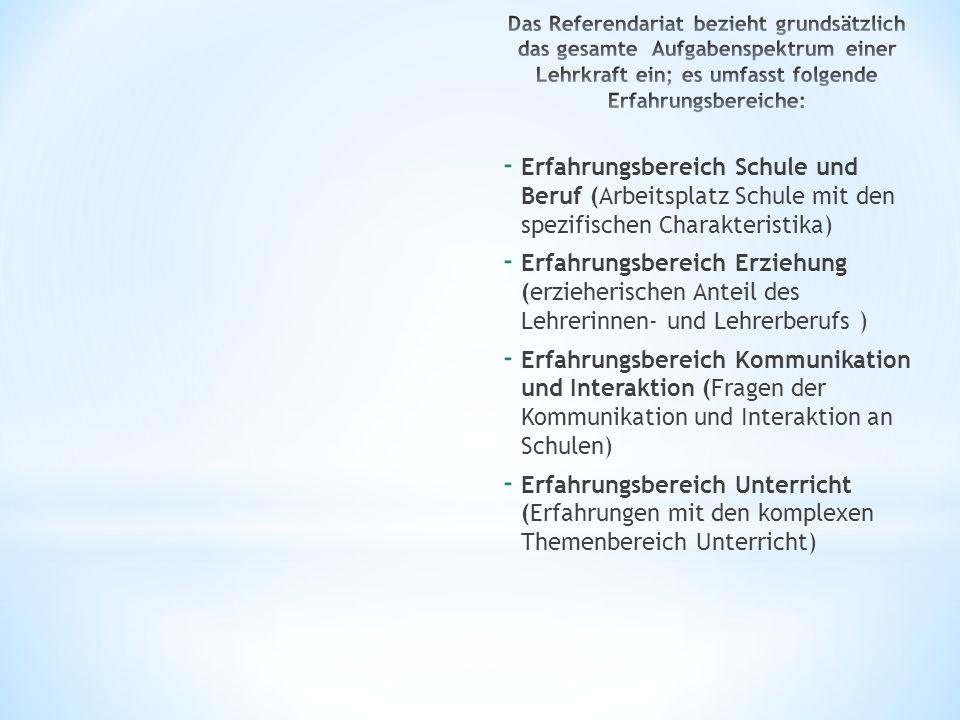 Das Referendariat bezieht grundsätzlich das gesamte Aufgabenspektrum einer Lehrkraft ein; es umfasst folgende Erfahrungsbereiche: