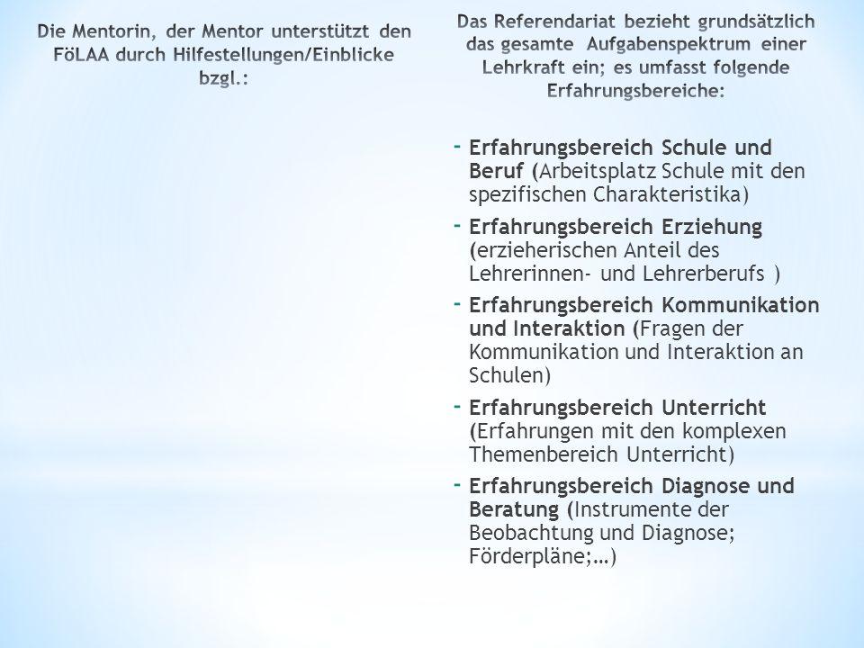 Die Mentorin, der Mentor unterstützt den FöLAA durch Hilfestellungen/Einblicke bzgl.:
