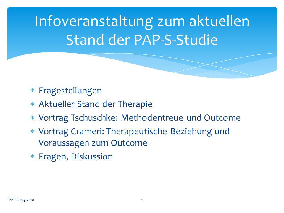 Infoveranstaltung zum aktuellen Stand der PAP-S-Studie