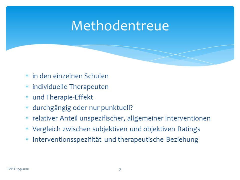 Methodentreue in den einzelnen Schulen individuelle Therapeuten