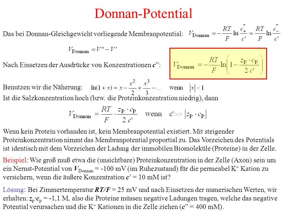 Donnan-Potential Das bei Donnan-Gleichgewicht vorliegende Membranpotential: Nach Einsetzen der Ausdrücke von Konzentrationen c :