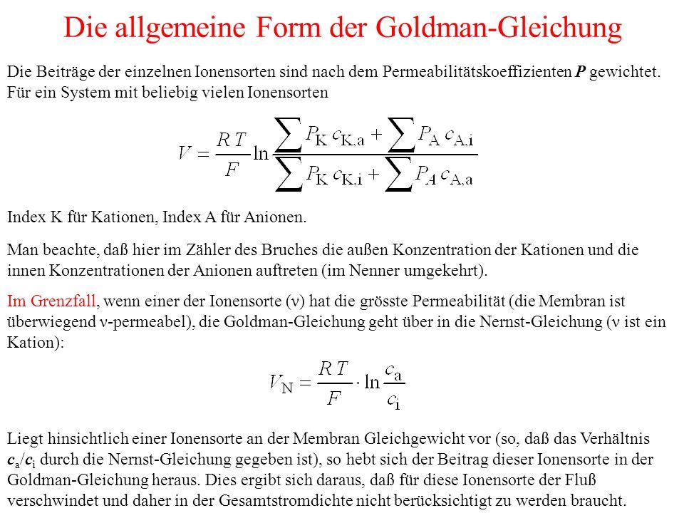 Die allgemeine Form der Goldman-Gleichung