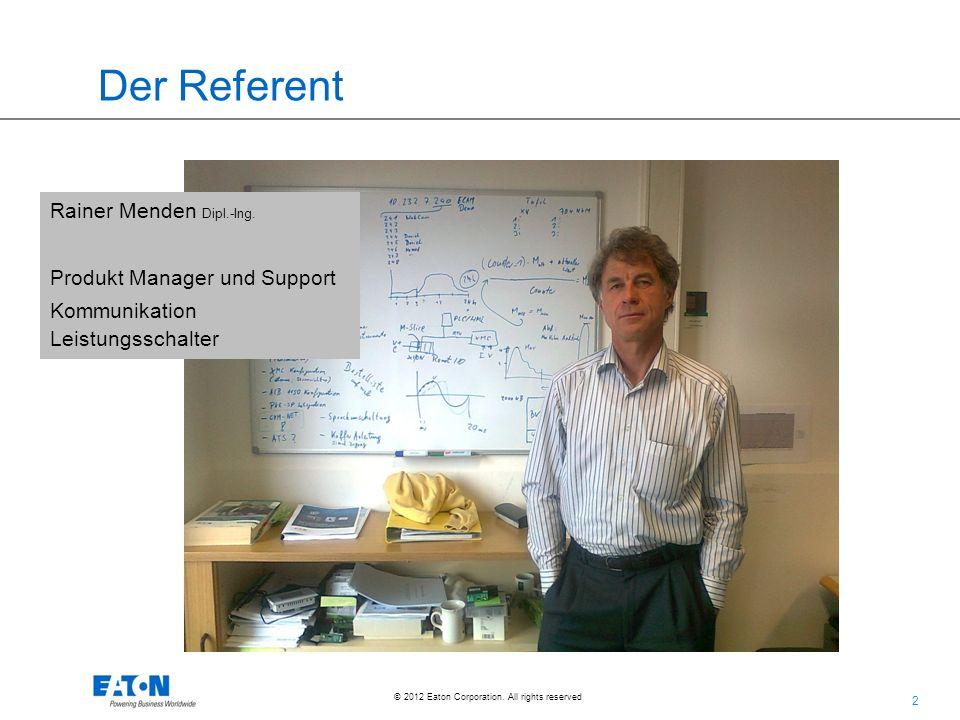 Der Referent Rainer Menden Dipl.-Ing. Produkt Manager und Support