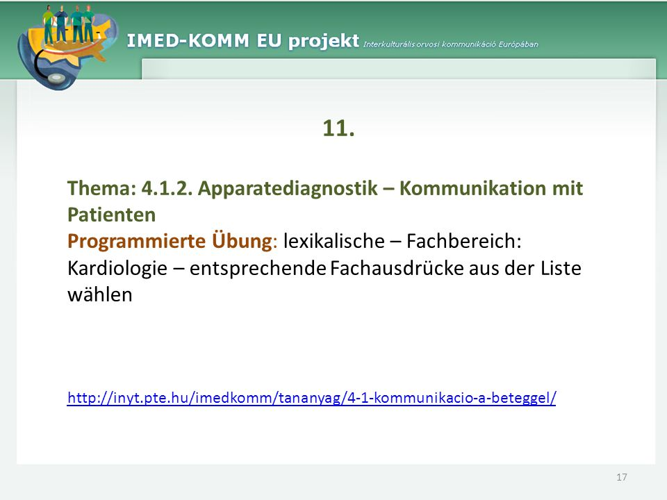11. Thema: 4.1.2. Apparatediagnostik – Kommunikation mit Patienten