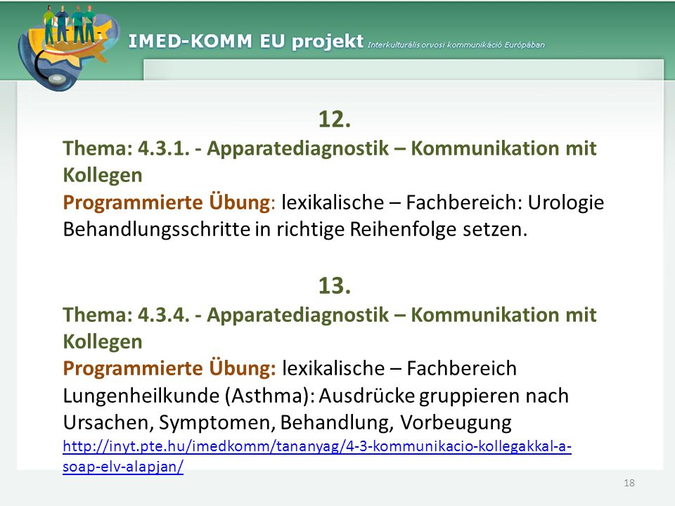 12.Thema: 4.3.1. - Apparatediagnostik – Kommunikation mit Kollegen.