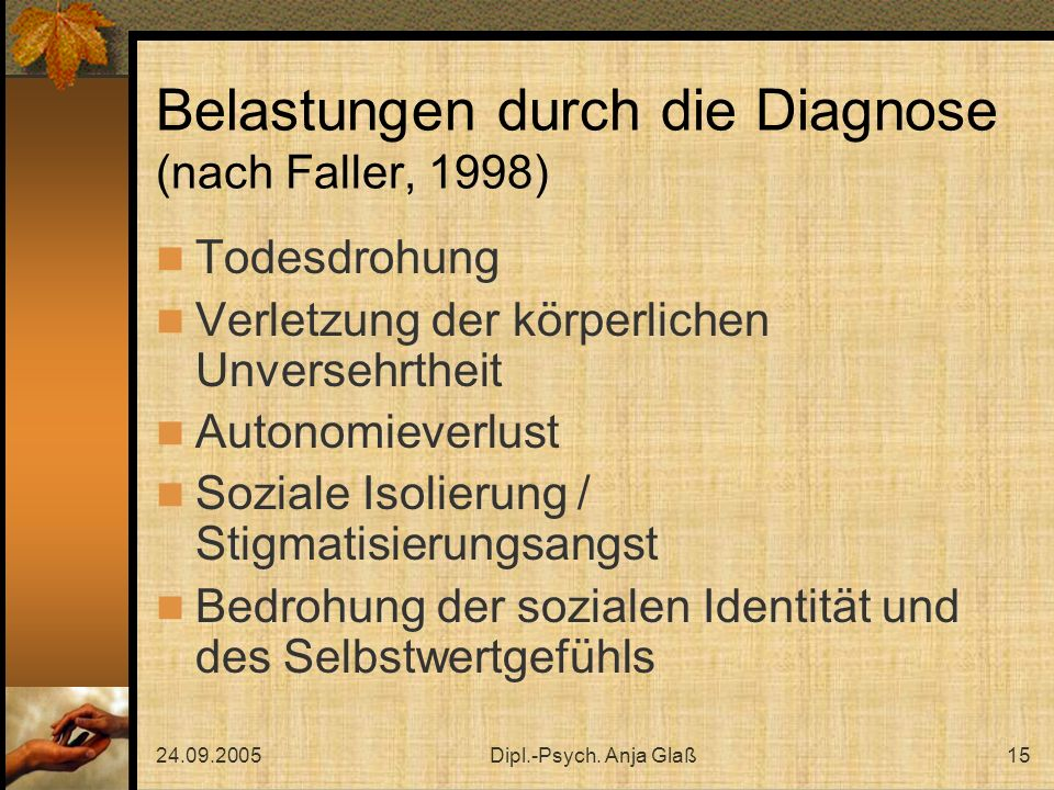 Belastungen durch die Diagnose (nach Faller, 1998)