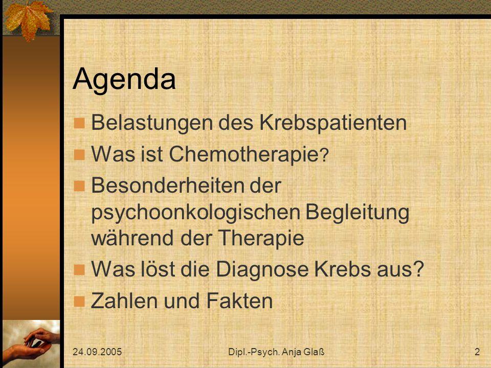 Agenda Belastungen des Krebspatienten Was ist Chemotherapie