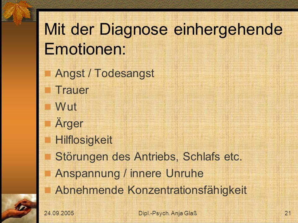 Mit der Diagnose einhergehende Emotionen: