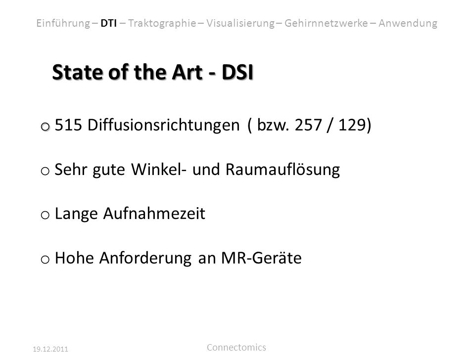 State of the Art - DSI 515 Diffusionsrichtungen ( bzw. 257 / 129)