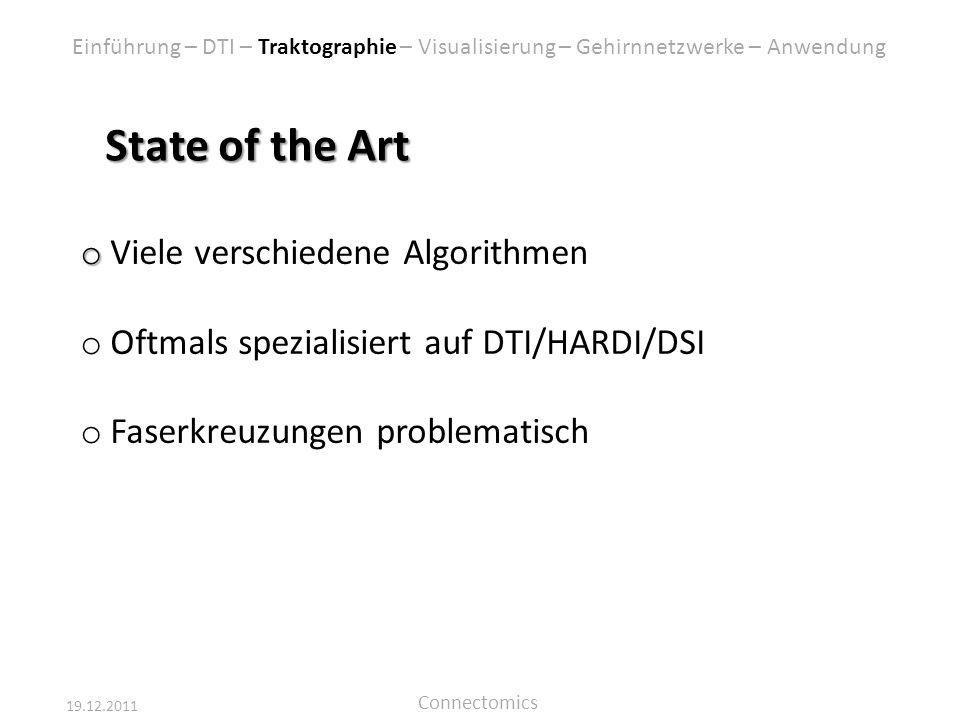State of the Art Viele verschiedene Algorithmen