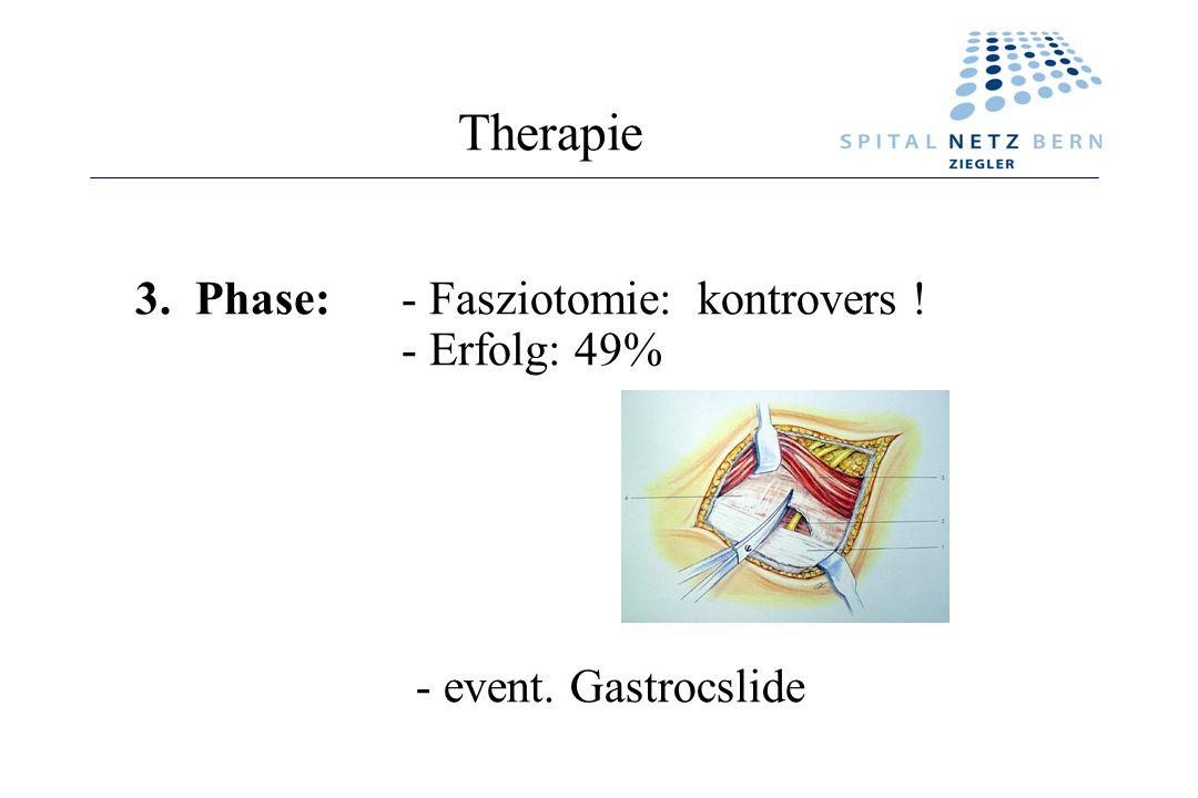 Therapie 3. Phase: - Fasziotomie: kontrovers ! - Erfolg: 49%