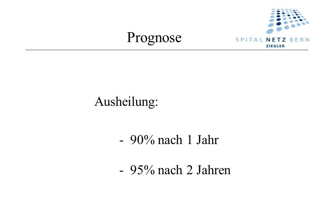 Prognose Ausheilung: - 90% nach 1 Jahr - 95% nach 2 Jahren