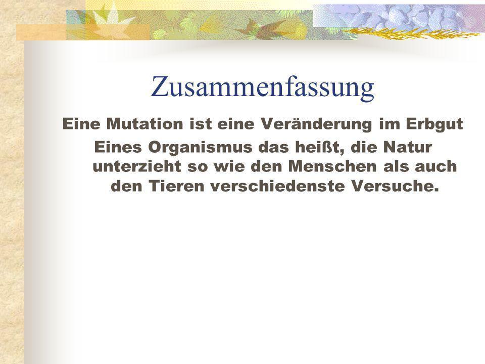 Eine Mutation ist eine Veränderung im Erbgut