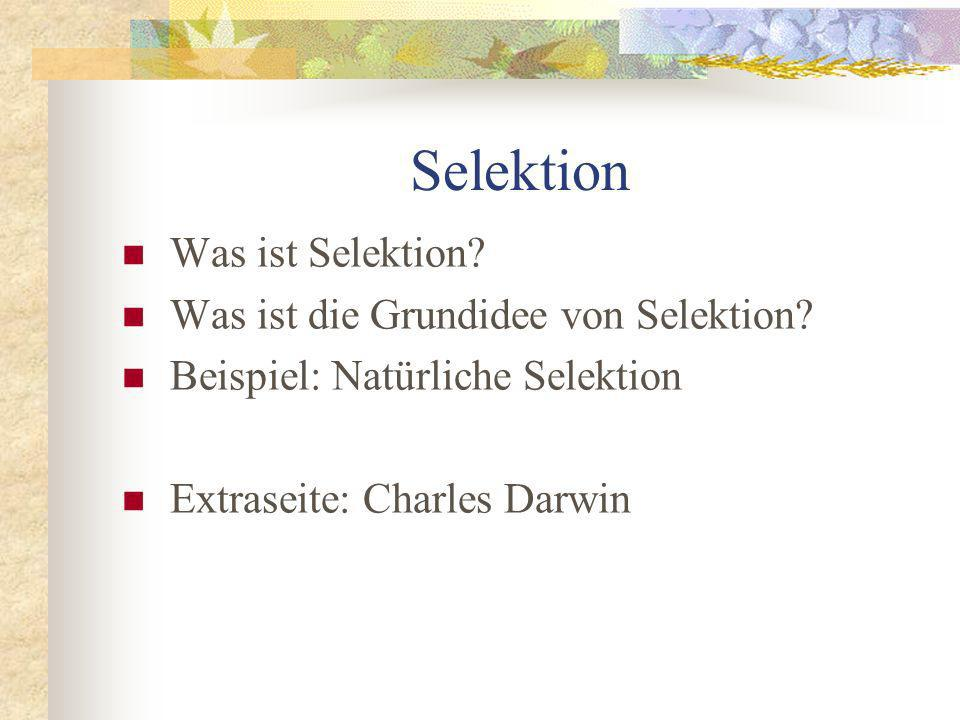 Selektion Was ist Selektion Was ist die Grundidee von Selektion
