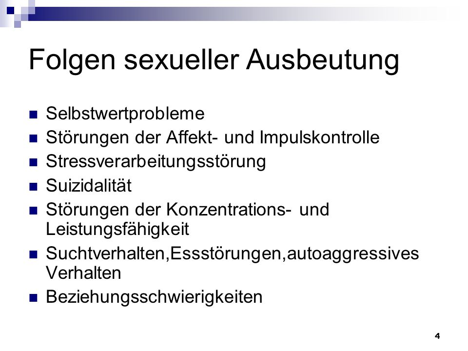 Folgen sexueller Ausbeutung