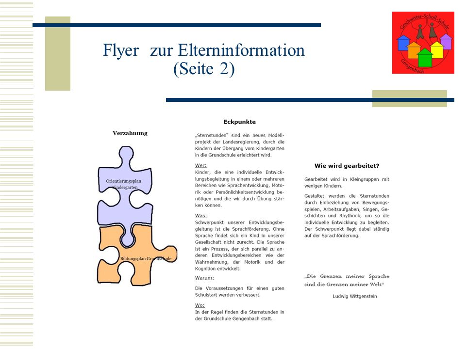 Flyer zur Elterninformation