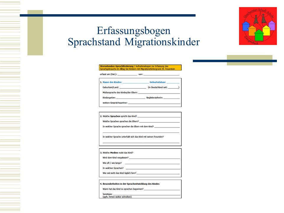 Erfassungsbogen Sprachstand Migrationskinder