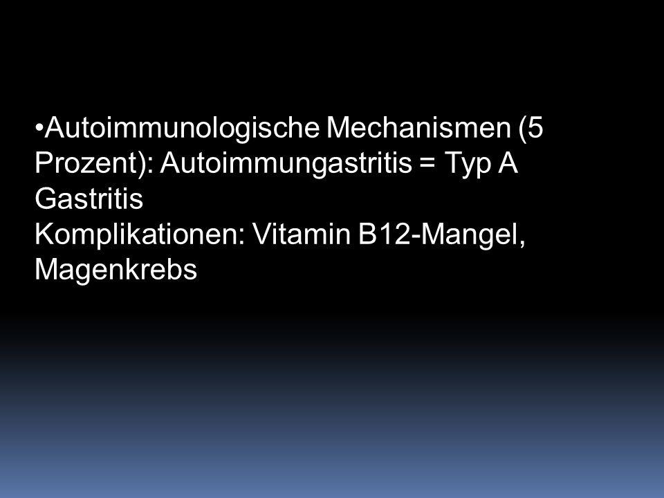 Autoimmunologische Mechanismen (5 Prozent): Autoimmungastritis = Typ A Gastritis Komplikationen: Vitamin B12-Mangel, Magenkrebs