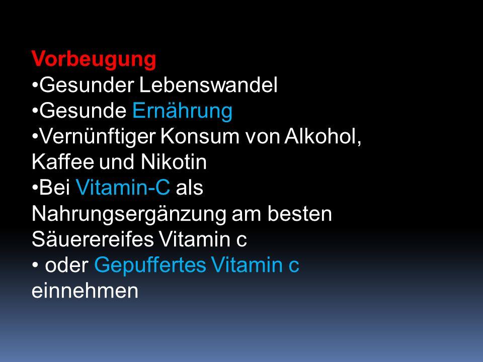 Vorbeugung Gesunder Lebenswandel. Gesunde Ernährung. Vernünftiger Konsum von Alkohol, Kaffee und Nikotin.