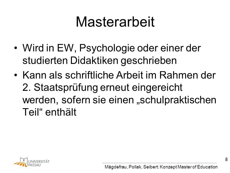 Masterarbeit Wird in EW, Psychologie oder einer der studierten Didaktiken geschrieben.