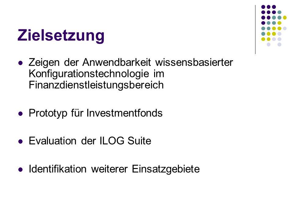 Zielsetzung Zeigen der Anwendbarkeit wissensbasierter Konfigurationstechnologie im Finanzdienstleistungsbereich.