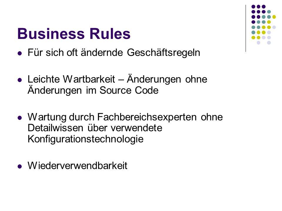 Business Rules Für sich oft ändernde Geschäftsregeln
