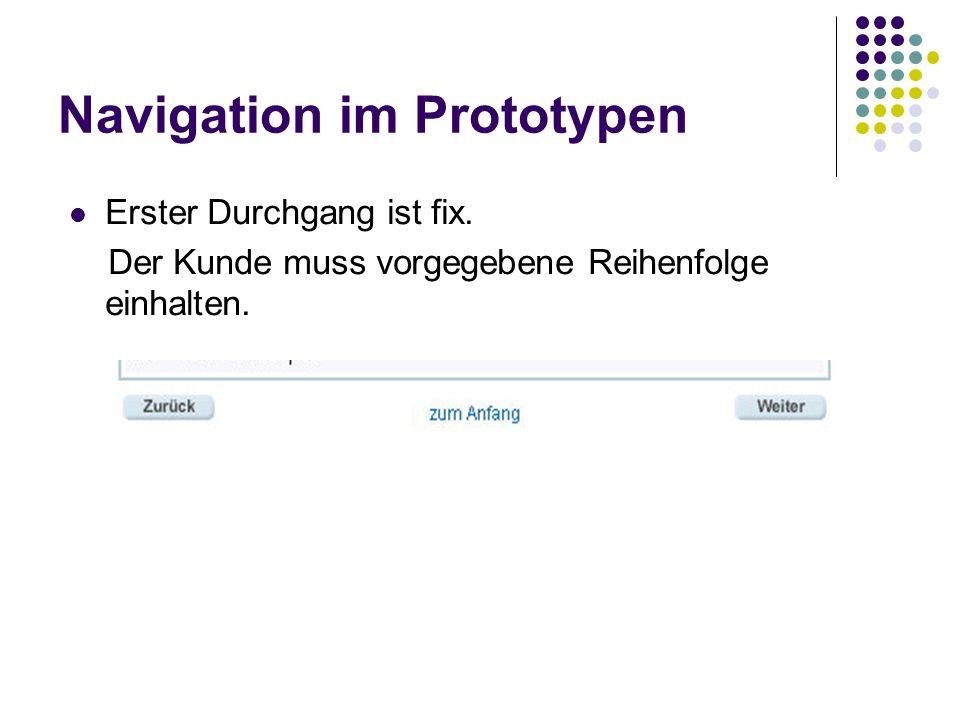 Navigation im Prototypen