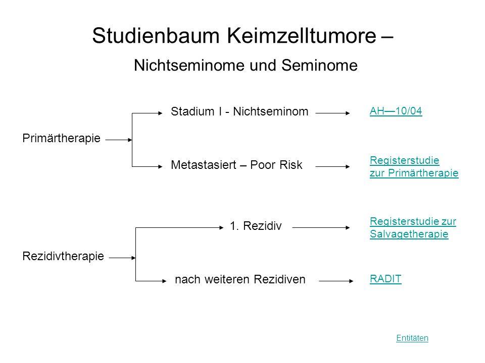 Studienbaum Keimzelltumore – Nichtseminome und Seminome
