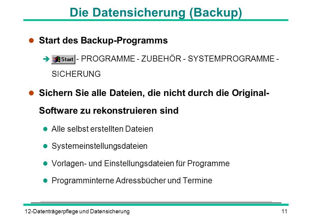 Die Datensicherung (Backup)