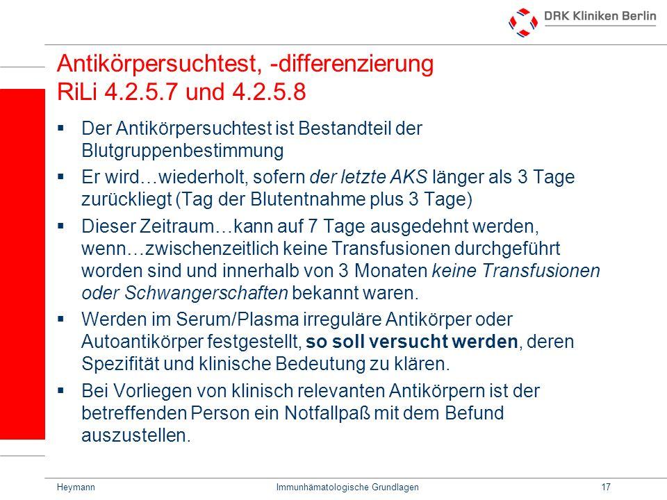 Antikörpersuchtest, -differenzierung RiLi 4.2.5.7 und 4.2.5.8