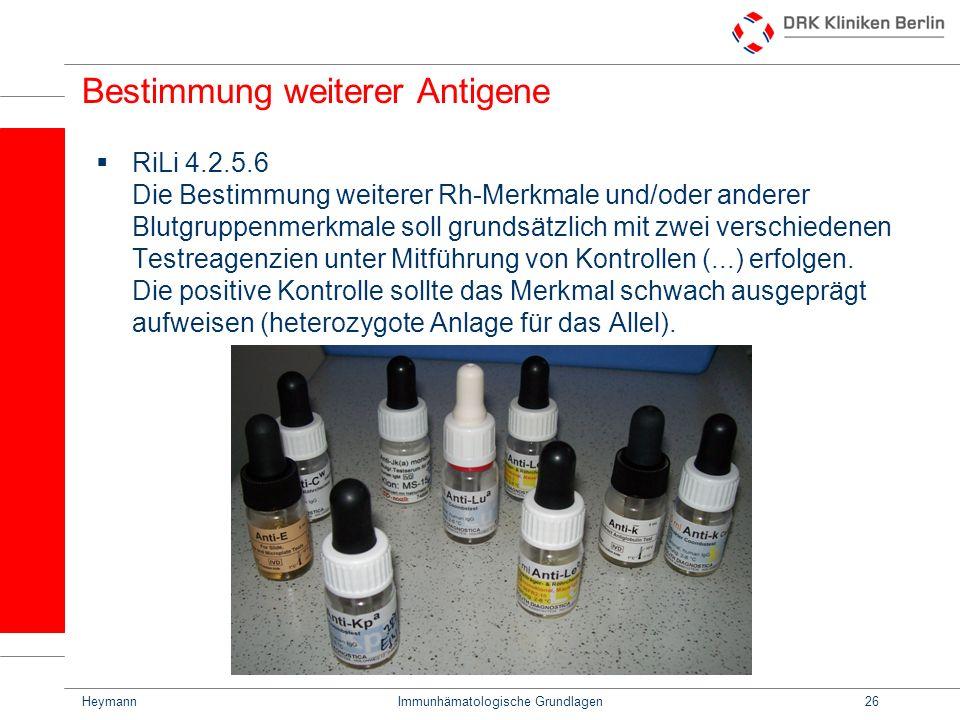 Bestimmung weiterer Antigene