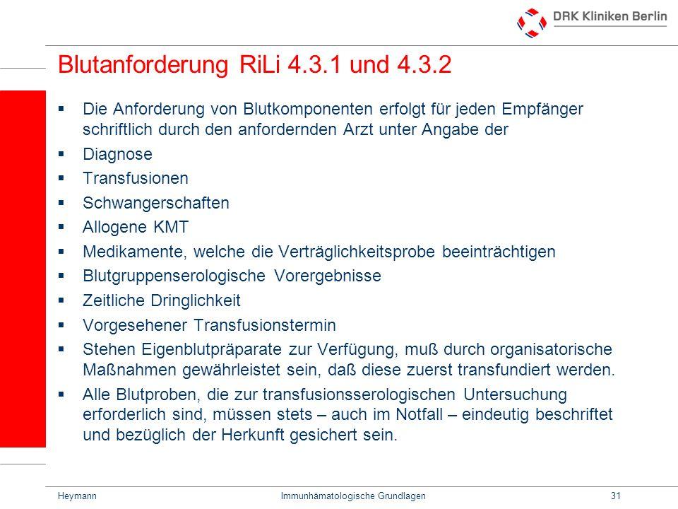 Blutanforderung RiLi 4.3.1 und 4.3.2