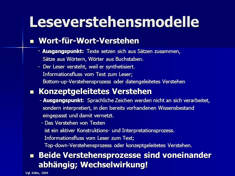 Leseverstehensmodelle