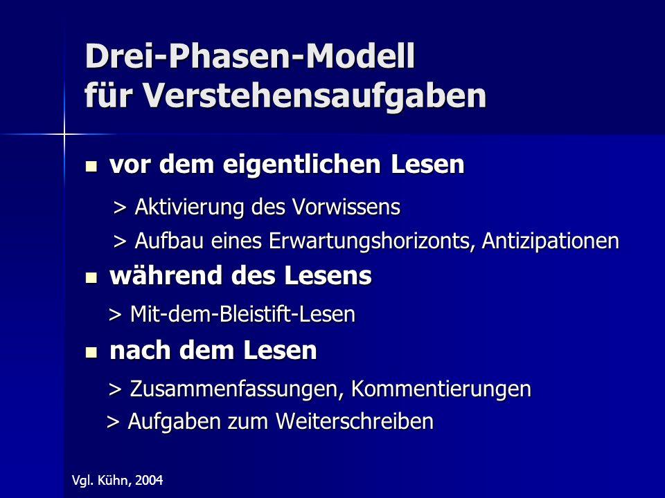 Drei-Phasen-Modell für Verstehensaufgaben