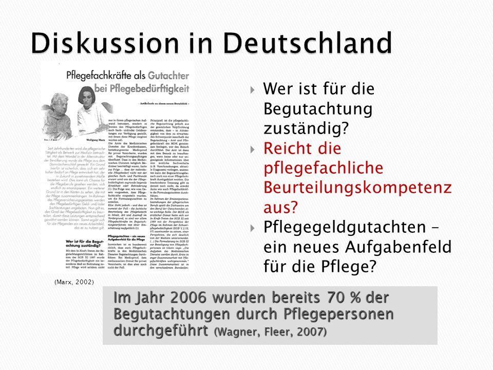 Diskussion in Deutschland