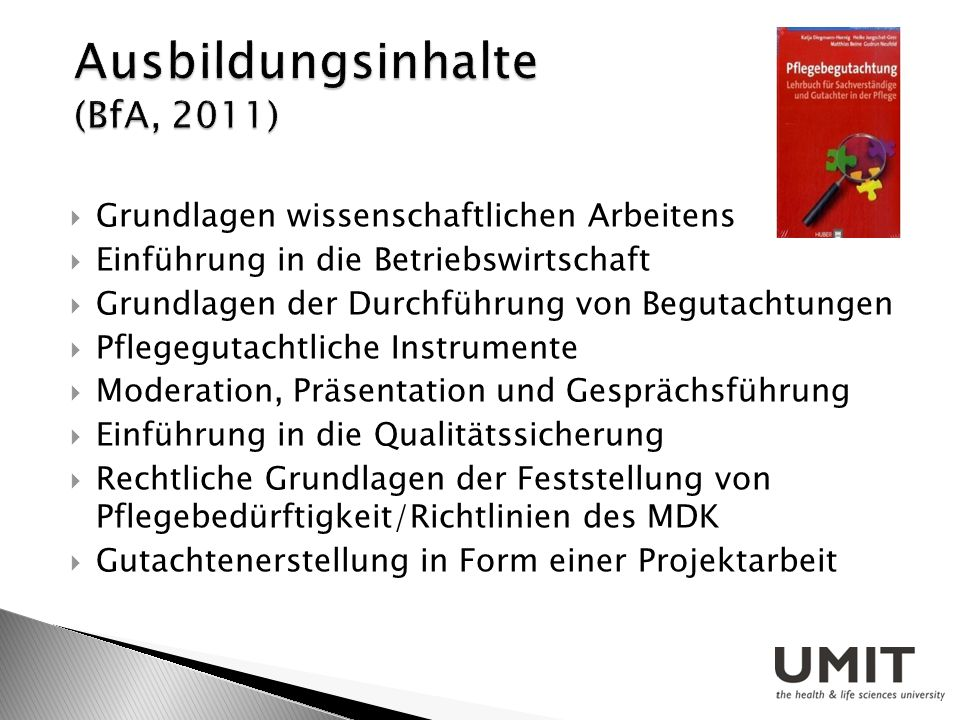 Ausbildungsinhalte (BfA, 2011)