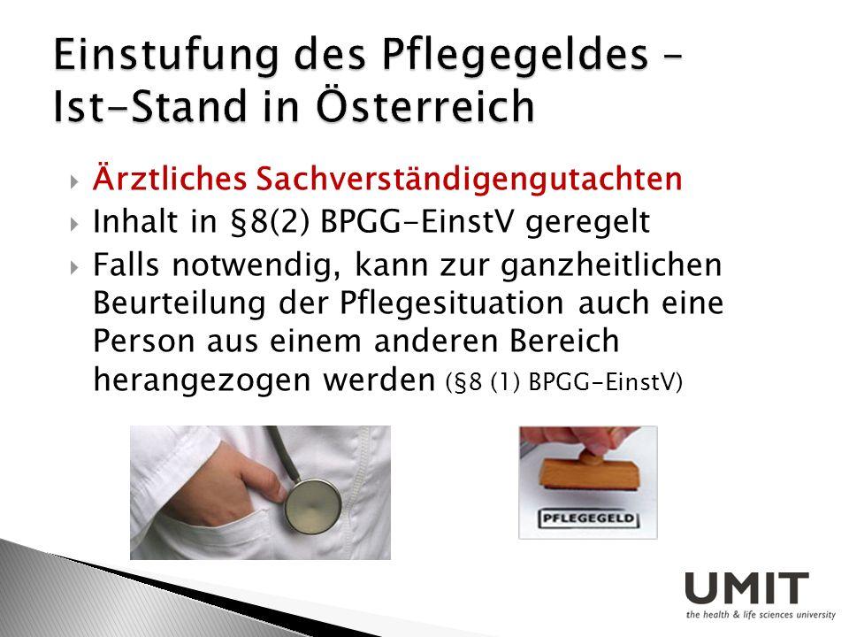 Einstufung des Pflegegeldes – Ist-Stand in Österreich