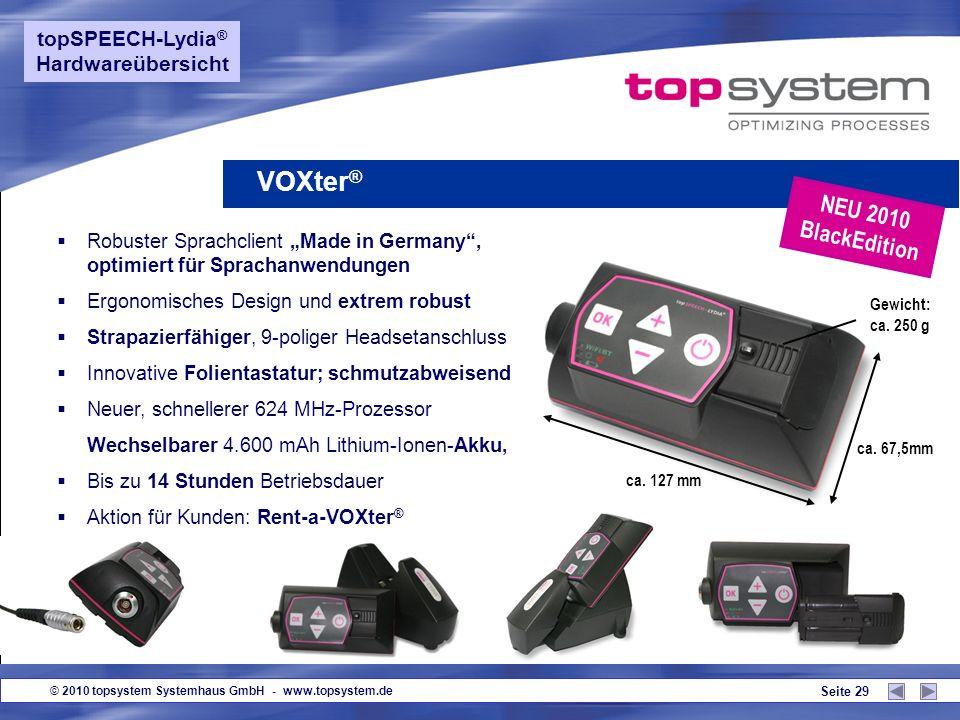 VOXter® NEU 2010 BlackEdition topSPEECH-Lydia® Hardwareübersicht