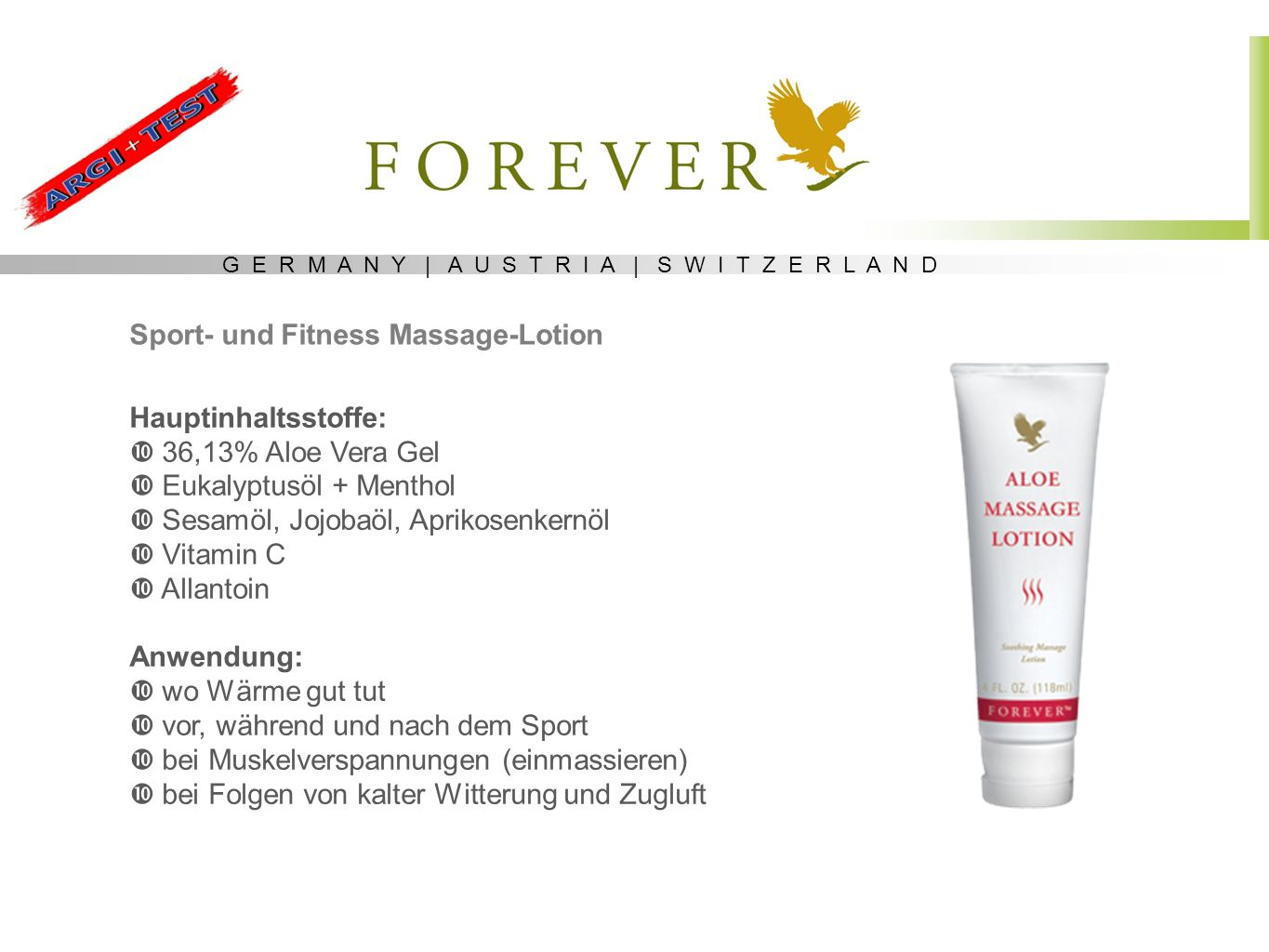 Sport- und Fitness Massage-Lotion