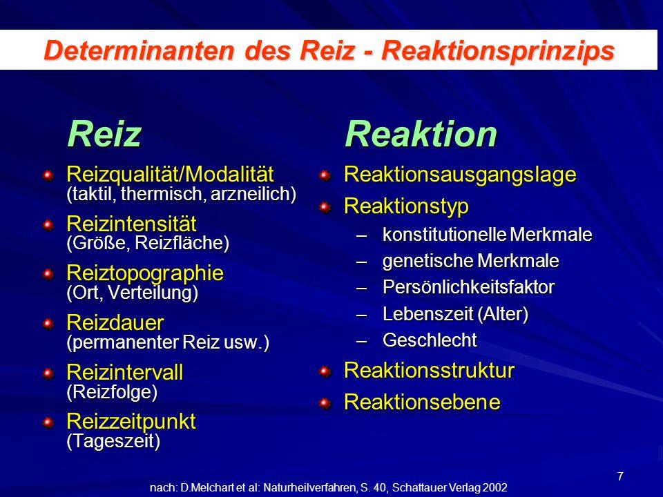 Determinanten des Reiz - Reaktionsprinzips