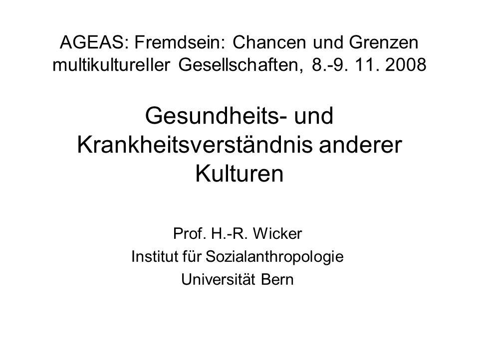 Prof. H.-R. Wicker Institut für Sozialanthropologie Universität Bern
