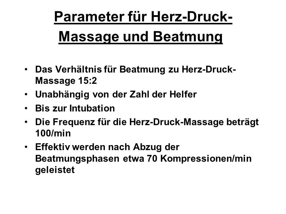 Parameter für Herz-Druck-Massage und Beatmung