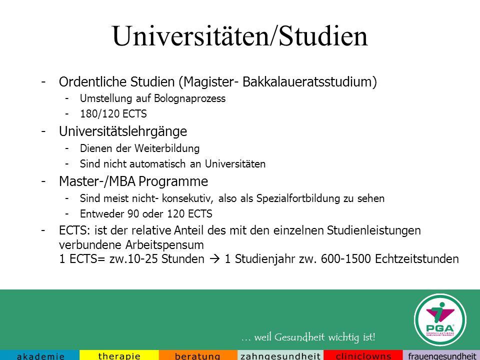 Universitäten/Studien