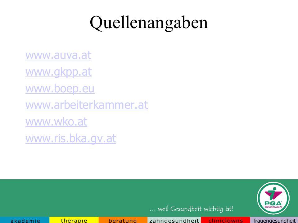 Quellenangaben www.auva.at www.gkpp.at www.boep.eu
