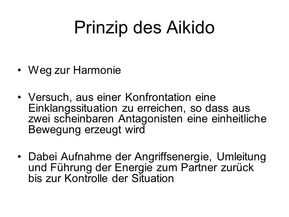 Prinzip des Aikido Weg zur Harmonie