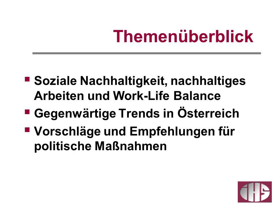 Themenüberblick Soziale Nachhaltigkeit, nachhaltiges Arbeiten und Work-Life Balance. Gegenwärtige Trends in Österreich.