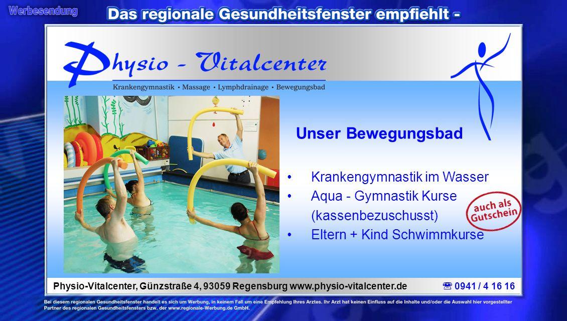 Unser Bewegungsbad Krankengymnastik im Wasser